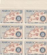 Maroc. Protectorat. Bloc De 6 Timbres,  Yvert N° 344 De 1955. Cinquantenaire Du Rotary International. - Rotary, Club Leones