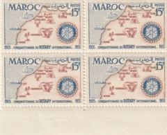 Maroc. Protectorat. Bloc De 4 Timbres,  Yvert N° 344 De 1955. Cinquantenaire Du Rotary International. - Rotary, Club Leones