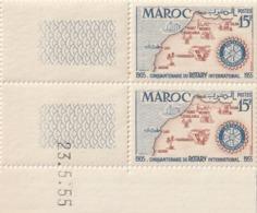 Maroc. Protectorat. Coin Daté De 2 Timbres,  Yvert N° 344 De 1955. Cinquantenaire Du Rotary International. - Rotary, Club Leones