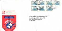 Russia Registered Cover Sent To Denmark St. Petersburg 6-1-2000 With 39 Of The Same Stamp - 1992-.... Federation