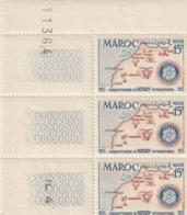 Maroc. Protectorat. Coin Numéroté De 3 Timbres,  Yvert N° 344 De 1955. Cinquantenaire Du Rotary International. - Rotary, Club Leones