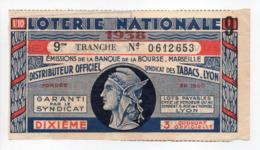 - BILLET DE LOTERIE NATIONALE 1938 - 9me TRANCHE - BANQUE DE LA BOURSE MARSEILLE - - Loterijbiljetten