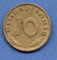 Allemagne  -  10 Reichspfennig 1938 D -  état TTB+ - [ 4] 1933-1945 : Tercer Reich