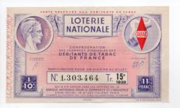 - BILLET DE LOTERIE NATIONALE 1939 - 15e TRANCHE - DÉBITANTS DE TABAC DE FRANCE - - Loterijbiljetten