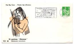 SEINE Et MARNE - Dépt N° 77 = BARBIZON 1960 = FLAMME PREMIER JOUR MOISSONNEUSE = SECAP Illustrée ' Village PEINTRES ' - Maschinenstempel (Werbestempel)