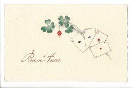22774 - Buon Anno Cartes à Jouer Et Trèfles + Cachet Maggia 1941 - Año Nuevo