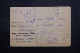 ALLEMAGNE - Carte De Correspondance De Prisonnier De Guerre à Erlangen Pour Genève En 1918 - L 47461 - Cartas