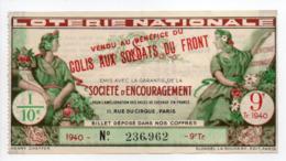 - BILLET DE LOTERIE NATIONALE 1940 - 9e TRANCHE - SOCIÉTÉ D'ENCOURAGEMENT - COLIS AUX SOLDATS DU FRONT - - Loterijbiljetten