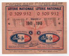 - BILLET DE LOTERIE NATIONALE 1940 - 2e TRANCHE - ETABLISSEMENTS Bébé Sport - - Loterijbiljetten