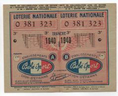 - BILLET DE LOTERIE NATIONALE 1940 - 3e TRANCHE - ETABLISSEMENTS Bébé Sport - - Loterijbiljetten