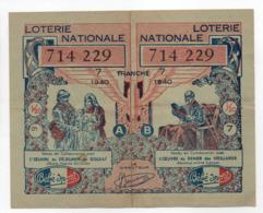 - BILLET DE LOTERIE NATIONALE 1940 - 7e TRANCHE - ETABLISSEMENTS Bébé Sport - - Loterijbiljetten