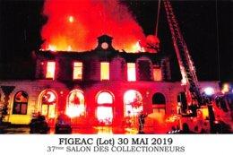 PIE-Z AR-19-2073 : FIGEAC 37° SALON DES COLLECTIONNEURS. POMPIERS. INCENDIE DE LA GARE EN 2018. - Figeac