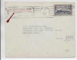 1935 - MARITIME - PAQUEBOT SS NORMANDIE - ENVELOPPE VOYAGE INAUGURAL AVEC MECA LE HAVRE à NEW YORK + TIMBRE - 1921-1960: Moderne