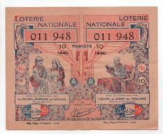 - BILLET DE LOTERIE NATIONALE 1940 - 10e TRANCHE - ETABLISSEMENTS Bébé Sport - - Loterijbiljetten