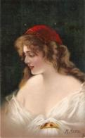 """M. Marco..Pretty Lady. Ruby"" Tuck Connoisseur Maco's Head Ser. PC # 2763 - Tuck, Raphael"