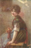 """Wobring. Pretty Smiling Lady"" Tuck Connoisseur Modern German Art Ser. PC # 2749 - Tuck, Raphael"