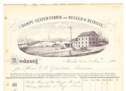 Minden 1884, Rechnung Dampf-Seifen-Fabrik Becker & Heinsse, Hübsche Fabrikansicht Mit Weserbrücke U. Schiffen - Deutschland