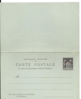 ENTIER POSTAL SAGE 10c Surcharge PORT SAID Neuf Carte Réponse Payée Papier Vert  ... - Tarjetas Cartas