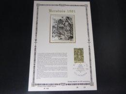 """BELG.1981 2030 FDC Filatelic Card NL ,zijde & Gouden Letters ,oplage 200 Ex !  : """" Kertmis """" - FDC"""