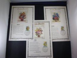 """BELG.1980 1966 1967 & 1968 FDC Filatelic Card NL ,zijde & Gouden Letters ,oplage 900 Ex !  : """" Gentse Floralien """" - FDC"""