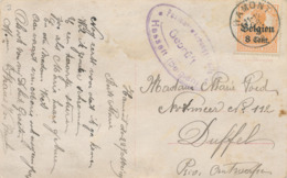 520/30 -- Province Du LIMBOURG - Carte Fantaisie TP Germania HAMONT 1918 Vers DUFFEL - Censure HASSELT - WW I