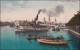 Schweiz Ansichtskarte Zürich - Utoquai Mit Dampfer Und Booten, ZÜRICH 25.8.1910 - Ohne Zuordnung