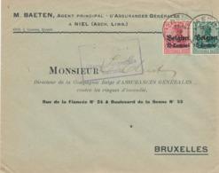522/30 -- Province Du LIMBOURG - Enveloppe TP Germania ASCH - Censure HASSELT - Agent D' Assurances Baeten à NIEL - WW I