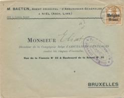 523/30 -- Province Du LIMBOURG - Enveloppe TP Germania ASCH - Censure HASSELT - Agent D' Assurances Baeten à NIEL - WW I