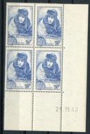 """N° 461 ** (MNH). Cote 83 €. Coin Daté Du 20/11/40 / Bloc De Quatre """"Georges Guynemer"""". - Dated Corners"""