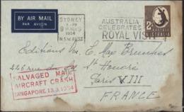 YT 160 Brun 2s CAD Sydney 9 3 54 Trace Calcination Et Eau Griffe Salvaged Mail Aircraft Crash Singapore 13 3 1954 - Covers & Documents