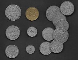 """14 Monnaies """" Scolaires """" 1962 Plastiques Neuves - Specimen"""