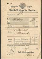 (7731) Bayern 1888, Einlieferungsschein, 1888 Rossbr / 1918 Birnbach PLZ 97279  - Bavière