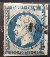 Empire No 14  B Obl Pc 1972  De MESLAY DU MAINE, Mayenne    Indice 7 , Belle Frappe  TB - 1853-1860 Napoléon III