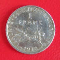 PIECE DE 1 FRANC 1915 - ARGENT - SEMEUSE - France