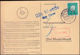 Landpost Merode über DÜREN 25.10.1960 Auf Postkarte Nach Rheda/Westf. - BRD