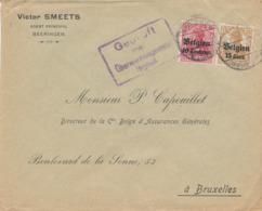 526/30 -- Province Du LIMBOURG - Enveloppe TP Germania BEERINGEN 1917 - Censure HASSELT - Entete Smeets , Assurances - WW I