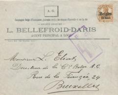 528/30 -- Province Du LIMBOURG - Enveloppe TP Germania BORGLOON LOOZ - Censure HASSELT - Entete Bellefroid , Assurances - WW I