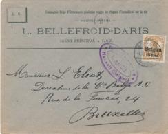 529/30 -- Province Du LIMBOURG - Enveloppe TP Germania BORGLOON - Censure HASSELT - Entete Bellefroid, Assurances à LOOZ - WW I