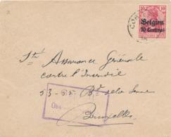 530/30 -- Province Du LIMBOURG - Enveloppe TP Germania CORTESSEM - Censure HASSELT - Expéditeur De Fauconval - WW I