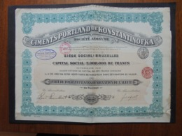 RUSSIE - BRUXELLES 1912 - CIMENTS PORTLAND DE KONSTANTINOFKA - PART DE FONDATEUR - Shareholdings