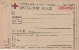 RUSSIE : CP . CROIX ROUGE . EN HONGROIS . POUR LES PG RUSSES . 1914/1918 . - Covers & Documents