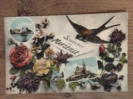 CPA, Multivues, Souvenir De Marseille, (Hirondelle, Fleurs) écrite En 1916 - Otros