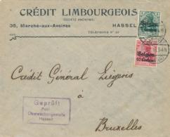 534/30 -- Province Du LIMBOURG - Enveloppe TP Germania HASSELT (avec Lettre A) 1916 - Censure HASSELT - TB Entete - WW I
