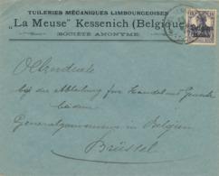 """535/30 -- Province Du LIMBOURG - Enveloppe TP Germania KESSENICH - Censure HASSELT - Tuileries Mécaniques  """"La Meuse"""" - Guerre 14-18"""