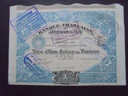 AFRIQUE DU SUD - PARIS 1898 - BANQUE FRANCAISE D'AFRIQUE DU SUD - ACTION DE 100 FRS - BELLE FRISE - Azioni & Titoli