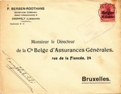 538/30 -- Province Du LIMBOURG - Enveloppe TP Germania NEERPELT - Censure HASSELT - Expéd. Berben, Assurances à OVERPELT - WW I