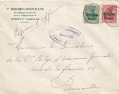539/30 -- Province Du LIMBOURG - Enveloppe TP Germania NEERPELT - Censure HASSELT - Expéd. Berben, Assurances à OVERPELT - WW I