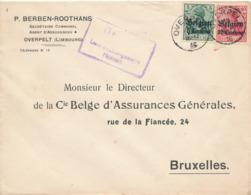 540/30 -- Province Du LIMBOURG - Enveloppe TP Germania OVERPELT - Censure HASSELT - Berben, Assurances, Secrét.Communal - WW I