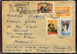 RUSSIE - N° 1990 + 2077 + 2176 + PA 110 / LR AVION D' ACHKNABAD LE 8/9/1959 POUR LA FRANCE - TB - Lettres & Documents
