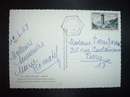 CP Pour La FRANCE TP CLOCHER ROMAN DE SAINTE COLOMA 12F OBL. HEXAGONALE Tiretée 12-6 1958 ST JULIEN DE LORIA - Lettres & Documents